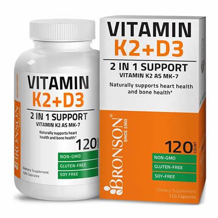 Vitamina K2 + Vitamina D3 120 cps, Bronson