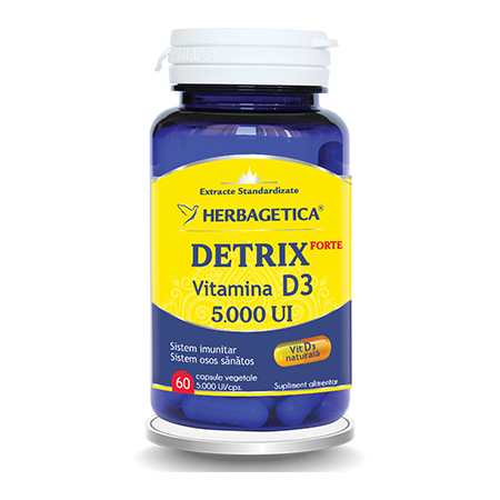 Detrix Forte Vitamina D3 5000 Ui 60 cps, Herbagetica
