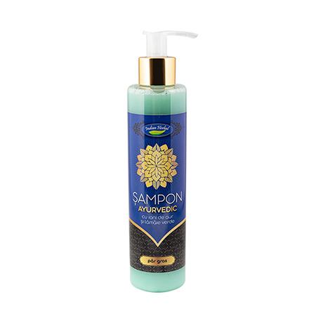 Sampon pentru Par Gras, cu ioni de Aur si Lamaie Verde 185ml, Indian Herbal