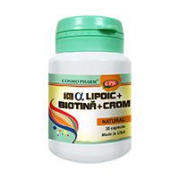 Acid Alfa Lipoic cu Biotina si Crom 30 cps, Cosmo Pharm