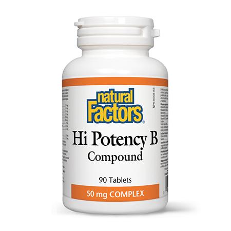 Hi Potency B - Vitamina B-Complex Forte 90 tbl, Natural Factors