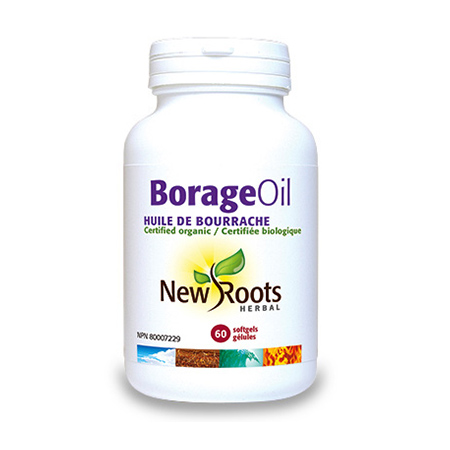 Borage Oil pur 1000mg 60 cps, New Roots