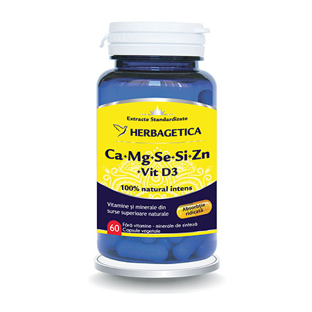 Ca+Mg+Se+Si+Zn cu Vit D3 Complex Forte 60 cps, Herbagetica