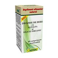 Drojdie de bere cu AlfAlfa si Siliciu Organic 60 cpr, Hofigal