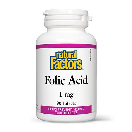 Acid Folic (Vitamina B9) 1mg (1.000 mcg) 90 tbl, Natural Factors