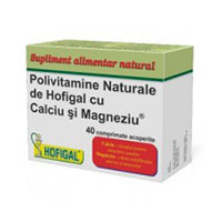 Polivitamine naturale cu Ca si Mg 40 cpr, Hofigal