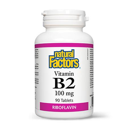 Vitamina B2 (Riboflavina) 100mg 90 tbl, Natural Factors