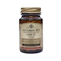 Vitamina D3 1000IU 100 tbl masticabile, Solgar