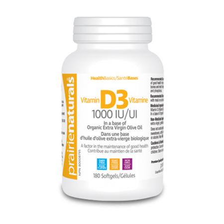 Vitamina D3 Forte 1000 UI 180 cps, PrairieNaturals